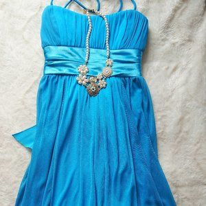 Turquoise formal dress with spaghetti straps